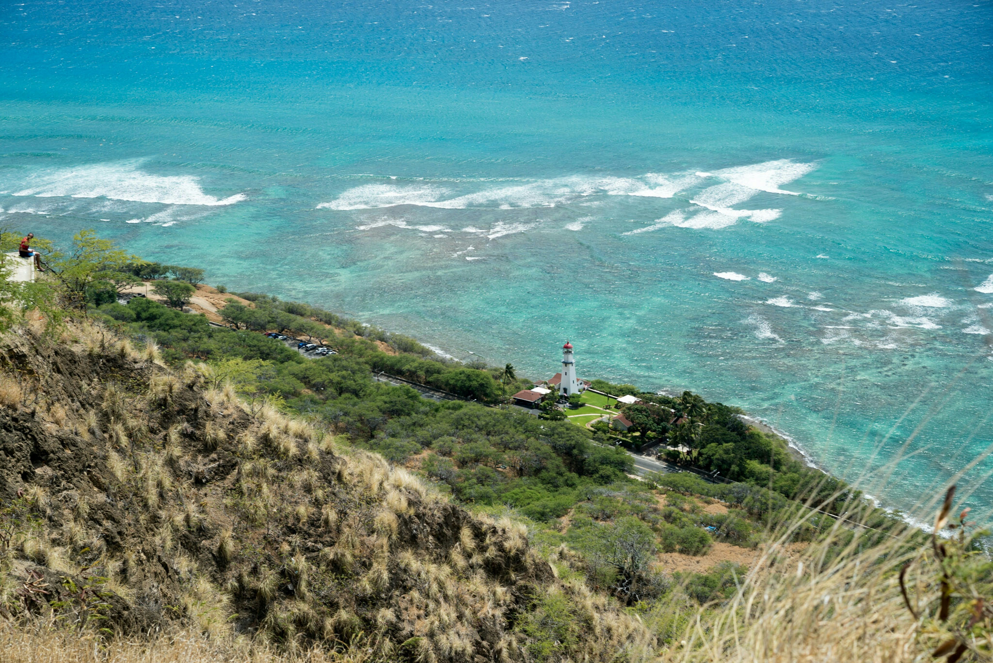 Lighthouse viewed from the crater ridge