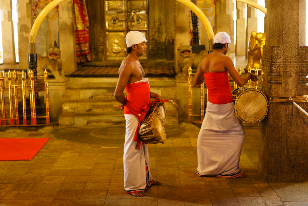 Musicians getting ready, ceremony of the tooth in Kandy