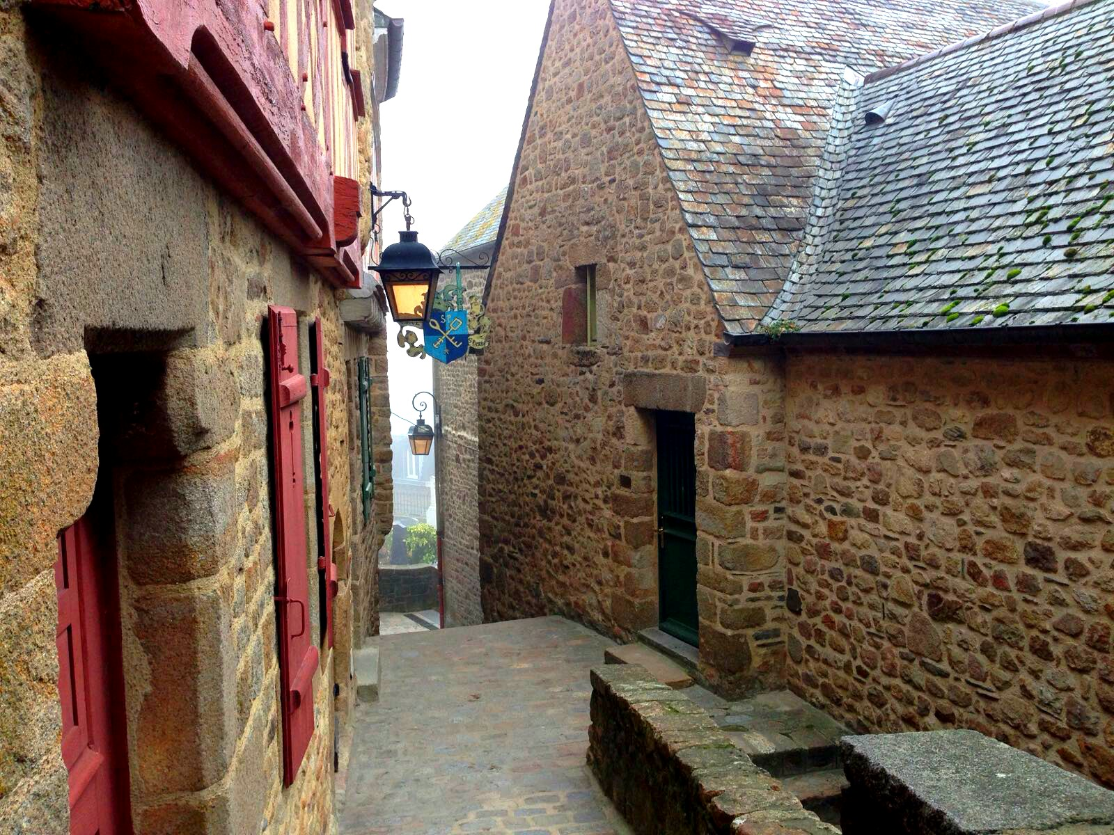 Cute street on Mont-Saint-Michel