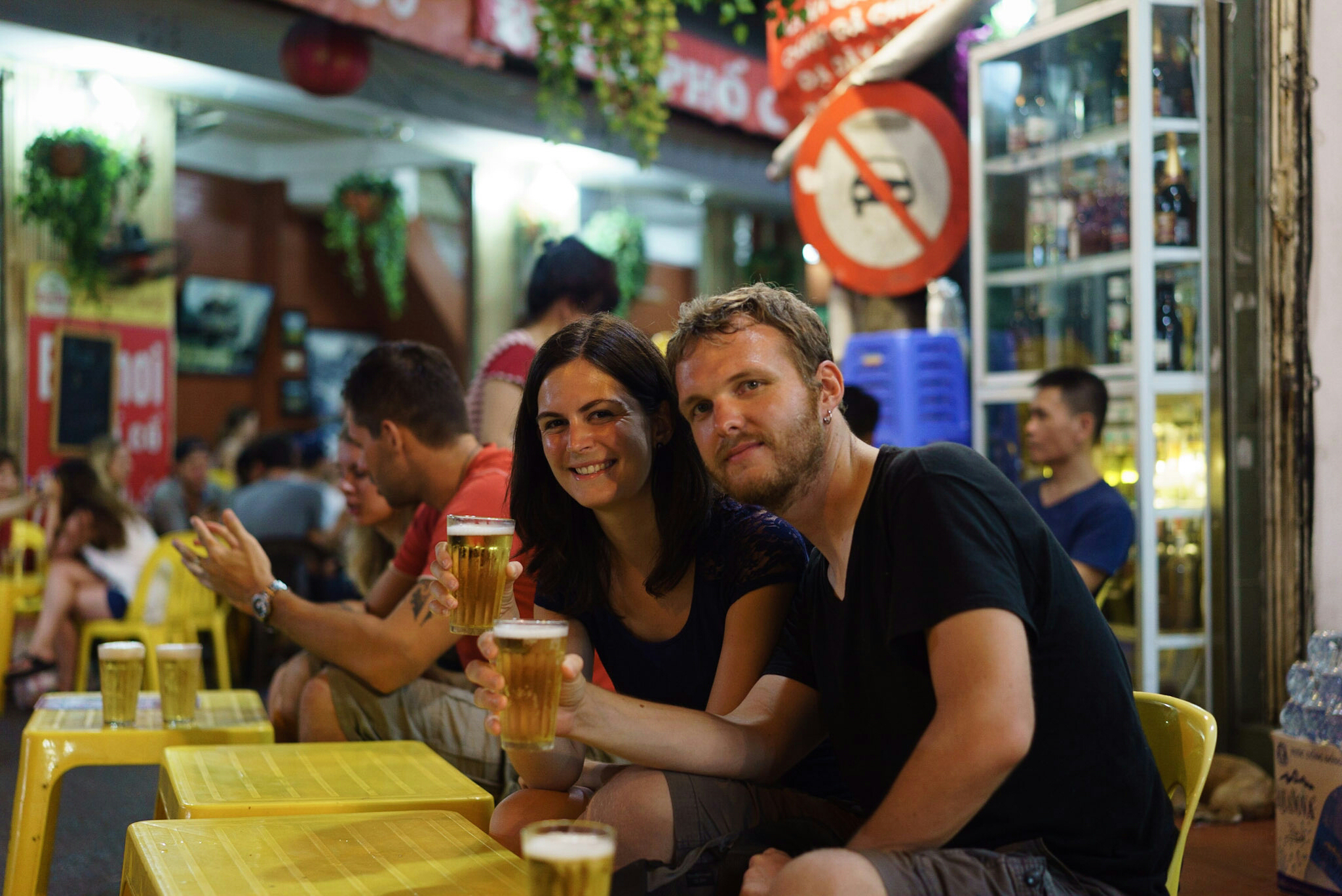 Having a beer in Hanoi