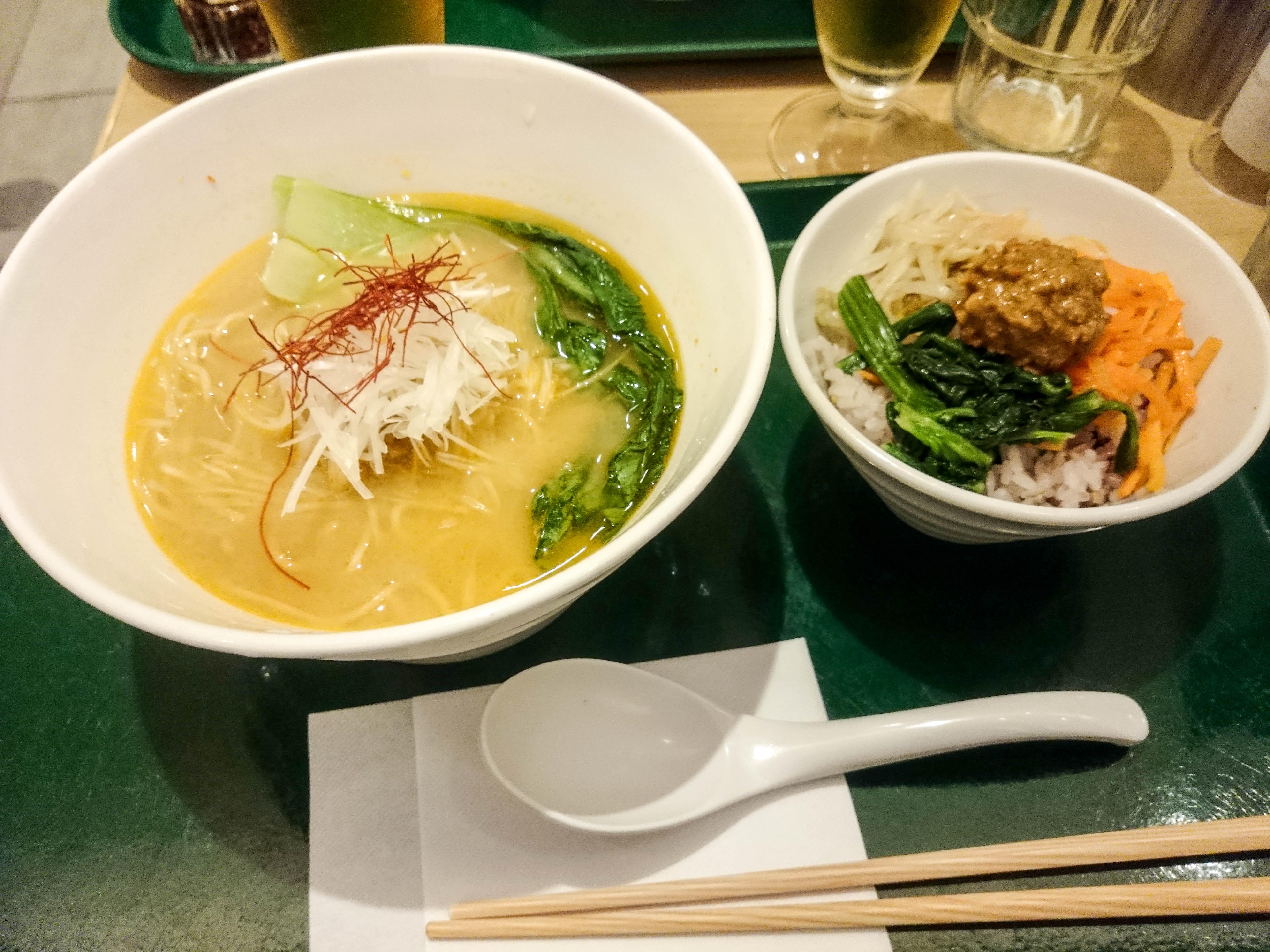 Vegan ramen at T's Tantan in Tokyo